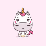 Cute kawaii unicorn baby vector illustration