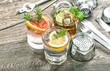 Leinwanddruck Bild - Summer fruit drinks lemonade mint leaves ice Cocktail