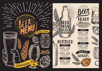 Beer drink menu for restaurant and cafe. Design template with hand-drawn graphic illustrations. Vector beverage flyer for bar on chalkboard background.
