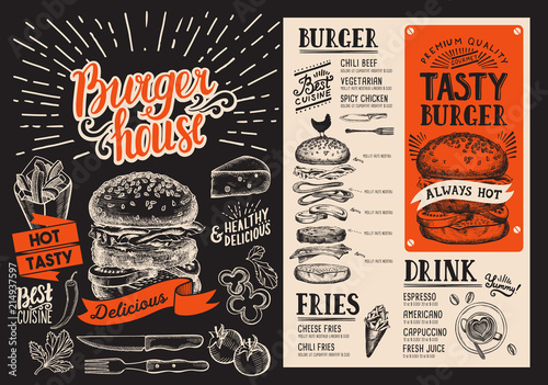 Burger menu. Vector food flyer for restaurant and cafe. Design template with vintage hand-drawn illustrations. - 214937597