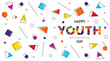 Happy Youth Day abstract retro background banner