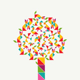 Tangram geometry shape tree concept