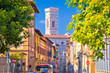 Leinwanddruck Bild Colorful street of Florence and Giotto bell tower of Duomo view