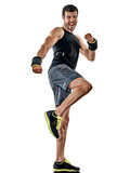 one caucasian fitness man exercising cardio boxing exercises in studio  isolated on white background - 214942910