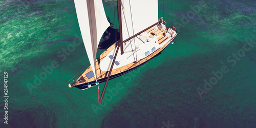 Fototapeta Extremely detailed and realistic high resolution 3D illustration of sailing boat at a tropical island doing luxury vacation