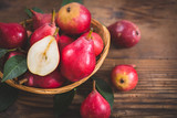 Fresh organic pears on the wooden table - 214966361