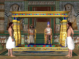 Egyptian Throne Room - The Egyptian Pharaoh and his Queen sit on the throne in the Old Kingdom of Egypt's history. - 214966924