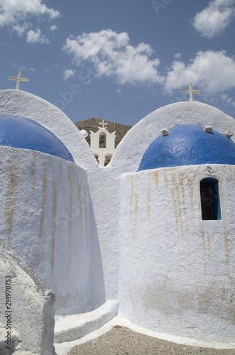Foto Spatwand Santorini Church Agios Nikolaos in town Kamari, Santorini