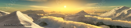 Foto Spatwand Zwavel geel Peaks in the clouds at sunset. Panorama of the mountain landscape. 3D rendering