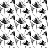 Vector seamless pattern of ink drawing wild plants, monochrome botanical illustration, floral elements, hand drawn repeatable background. Artistic backdrop with palm leaves. - 214975517