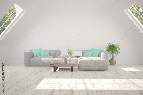 Sticker Idea of white room with sofa and summer landscape in window. Scandinavian interior design. 3D illustration