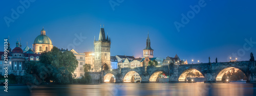 Charles bridgeat night, Prague, Czech Republic
