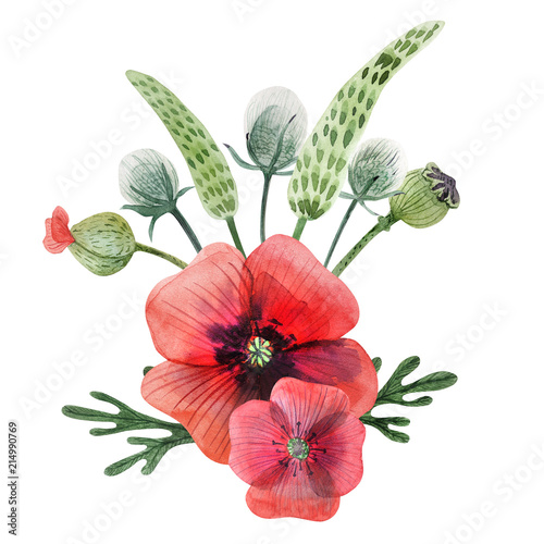 Poppy and grass hand painted watercolor boutonniere - 214990769