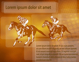 jockeys on racing horses over abstract background with space for text - vector - 214993526