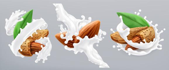 Almond and milk splash. 3d realistic vector icon