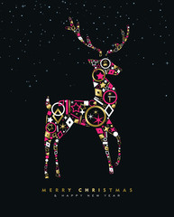 Christmas and New Year deer card made of gold icon