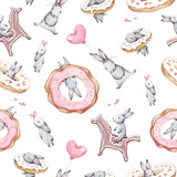 Watercolor seamless pattern. Wallpaper with party air balloons, donuts, cupcakes and fantasy bunneis cartoon animals on white background. Hand drawn vintage texture.