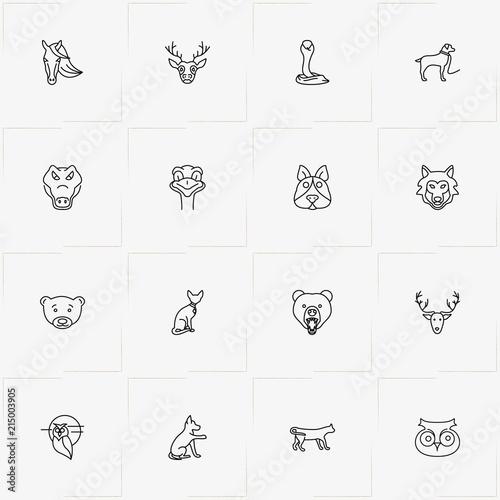 Fotobehang Uilen cartoon Animals line icon set with bear, cobra and horse