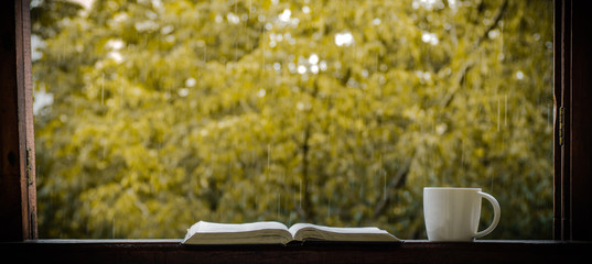 Cozy autumn still life: cup of hot coffee and opened book on vintage windowsill and rain outside. Autumn. Apartment. Rain  © Анастасия Стягайло