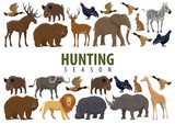 Hunting banner with wild animals and birds