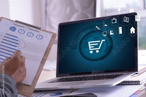 Business people use Technology E-commerce Internet Global Marketing Purchasing Plan and Bank Concept - 215027180