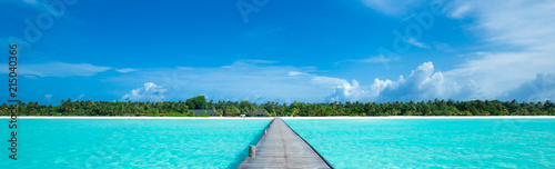 tropical beach in Maldives - 215040366