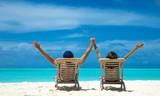 Couple on a tropical beach at Maldives - 215040559