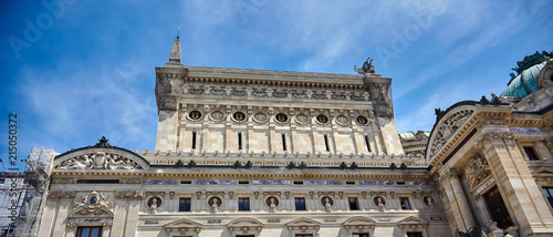 Palais or Opera Garnier & The National Academy of Music (Grand Opéra). Detail of the west facade of the building. Paris, France, Europe - 215050372