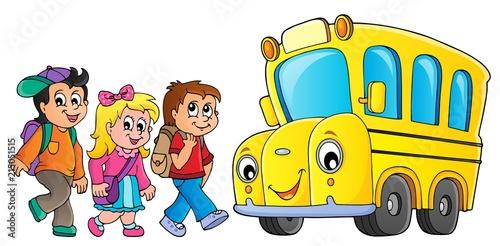 Canvas Voor kinderen Children by school bus theme image 1
