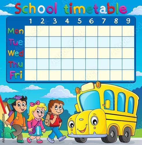 Canvas Voor kinderen School timetable with children and bus