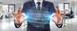Leinwanddruck Bild - Businessman using digital sphere connection hologram 3D rendering