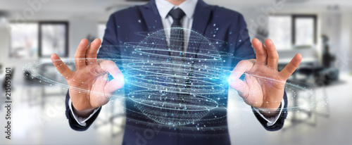 Leinwanddruck Bild Businessman using digital sphere connection hologram 3D rendering