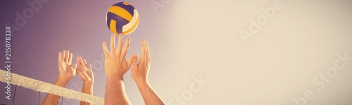 Cropped image of friends playing volleyball - 215078338
