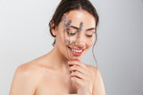 Beauty portrait of a smiling young topless woman - 215081364