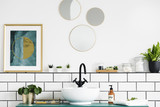 Poster next to round mirrors above washbasin and plant in white bathroom interior. Real photo - 215081368