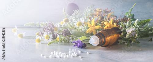 Leinwandbild Motiv Header for homeopathy and other alternative medicine