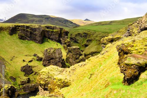 Plexiglas Geel península de Snaefellsnes. Escena de la mañana pintoresca y hermosa. Lugar famoso de la cascada de Kirkjufellsfoss, Islandia, Europa.