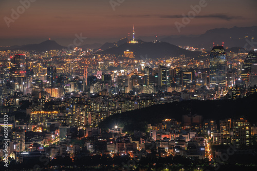 Aluminium Seoel Seoul city skyline and seoul tower at night in Korea.