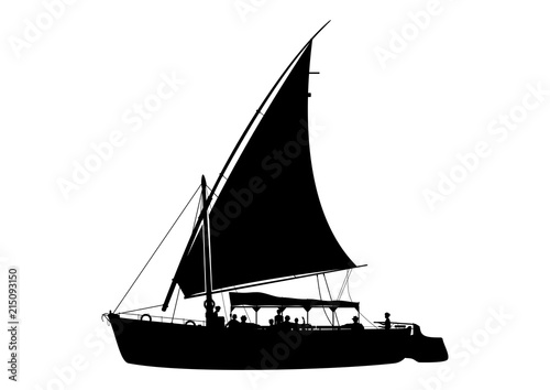 Traditional wooden sailing boat called felucca. Egyptian boat trip. Side view. Flat vector.