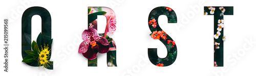 Foto Murales Flower font Alphabet q, r, s, t, made of Real alive flowers with Precious paper cut shape of letter. Collection of brilliant flora font for your unique decoration in spring, summer & many concept idea