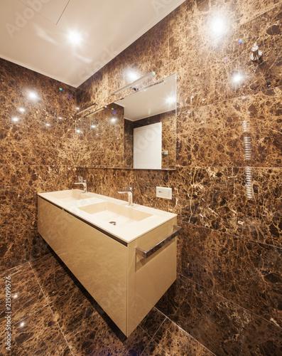 Interior of modern luxury house, nobody inside, bathroom