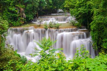 Beautiful waterfall in deep forest, Huay Mae Kamin Waterfall in Kanchanaburi Province, Thailand © naypong
