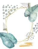 Hand drawn illustration with watercolor and marble elements. Scandinavian design. Geometric card - 215108909