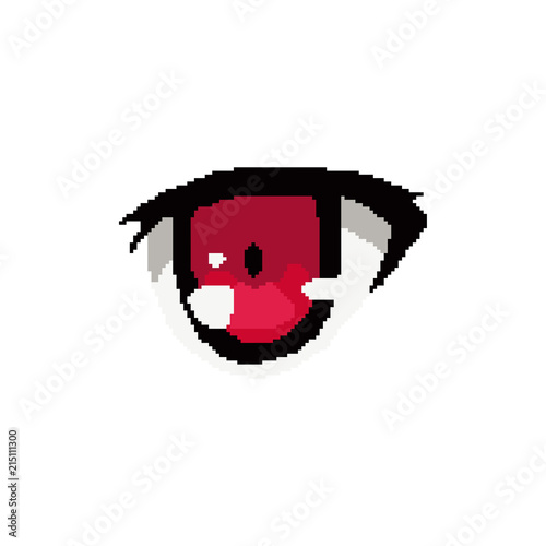 vector pixel art anime eye cartoon - 215111300