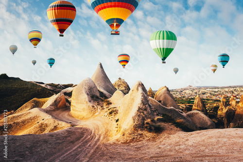 Color balloons in the sunrise sky. Cappadocia, Turkey - 215113773
