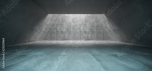 Leinwanddruck Bild Concrete Long Triangle Shaped Underground Tunnel With Hole Sunlight Empty Space 3D Rendering