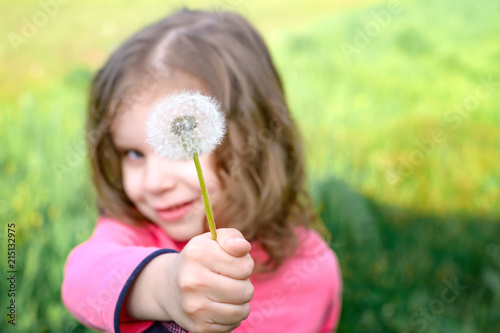 happy child holds a dandelion flower in the open air. girl having fun in the spring Park. blurred green background. dreams and imagination concept. - 215132975