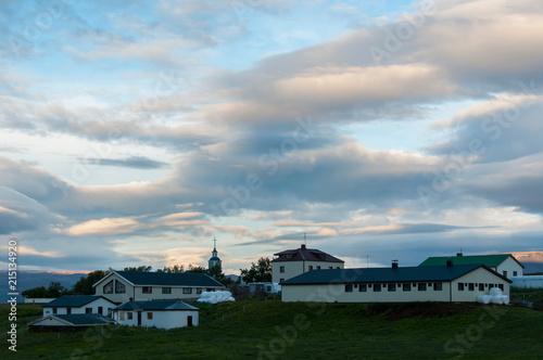 Plexiglas Pool Ambiente de nevoeiro e nuvens na bonita paisagem natural da Islândia