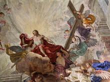 """Постер, картина, фотообои """"Cristo glorioso con angeli; soffitto affrescato della Chiesa abbaziale di Sant"""