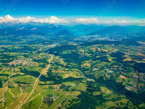 Canvas Blauw Top aerial view of country side in Switzerland at summer time